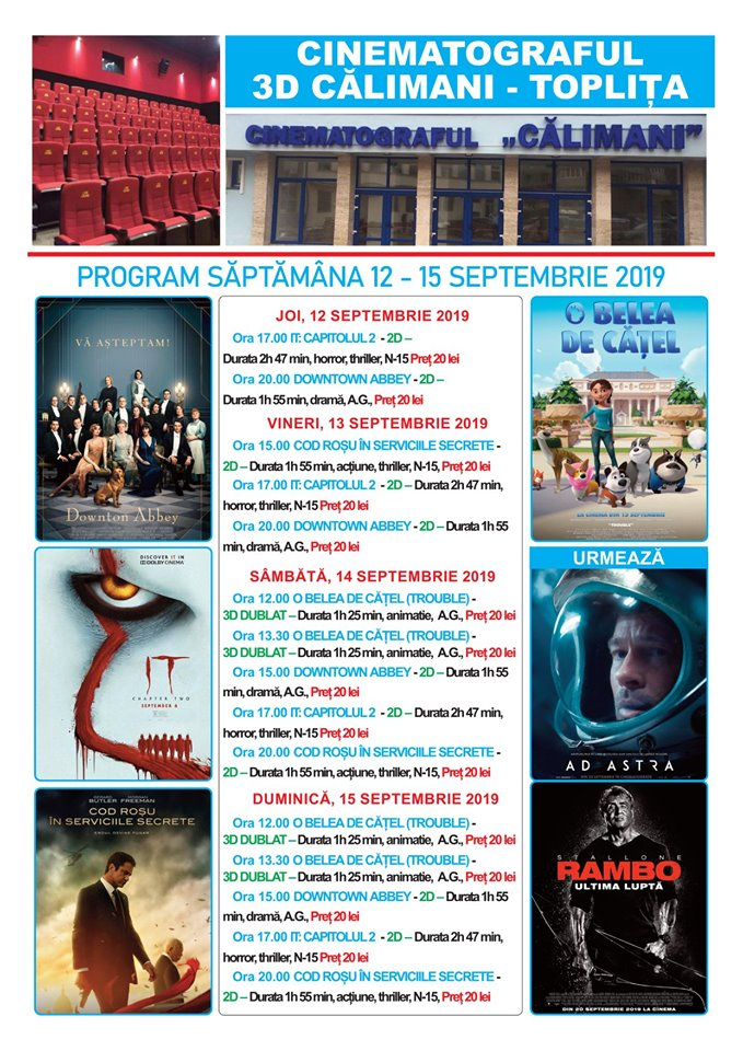 Cinema 12-15 septembrie 2019[140]